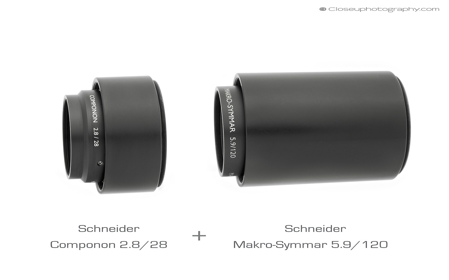Schneider Componon 2.8/28 reversed and Schneider Makro-Symmar 5.6/120. The 2.8/28 hood is mounted on the rear of the lens.