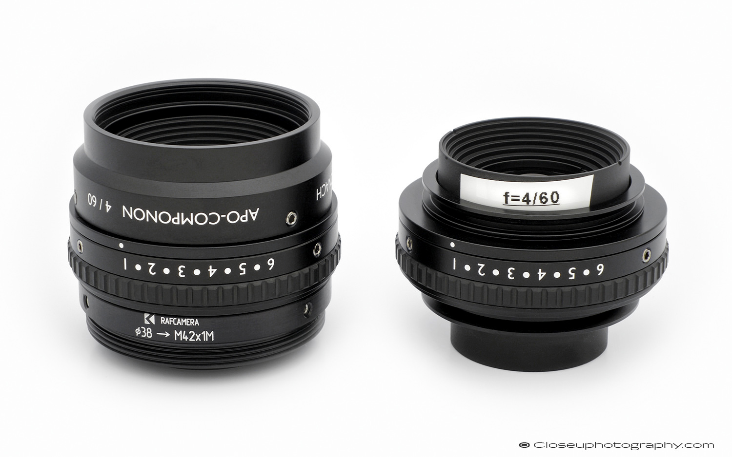 Schneider APO Componon 60mm f4 line scan lens with and without shroud and mount adapter