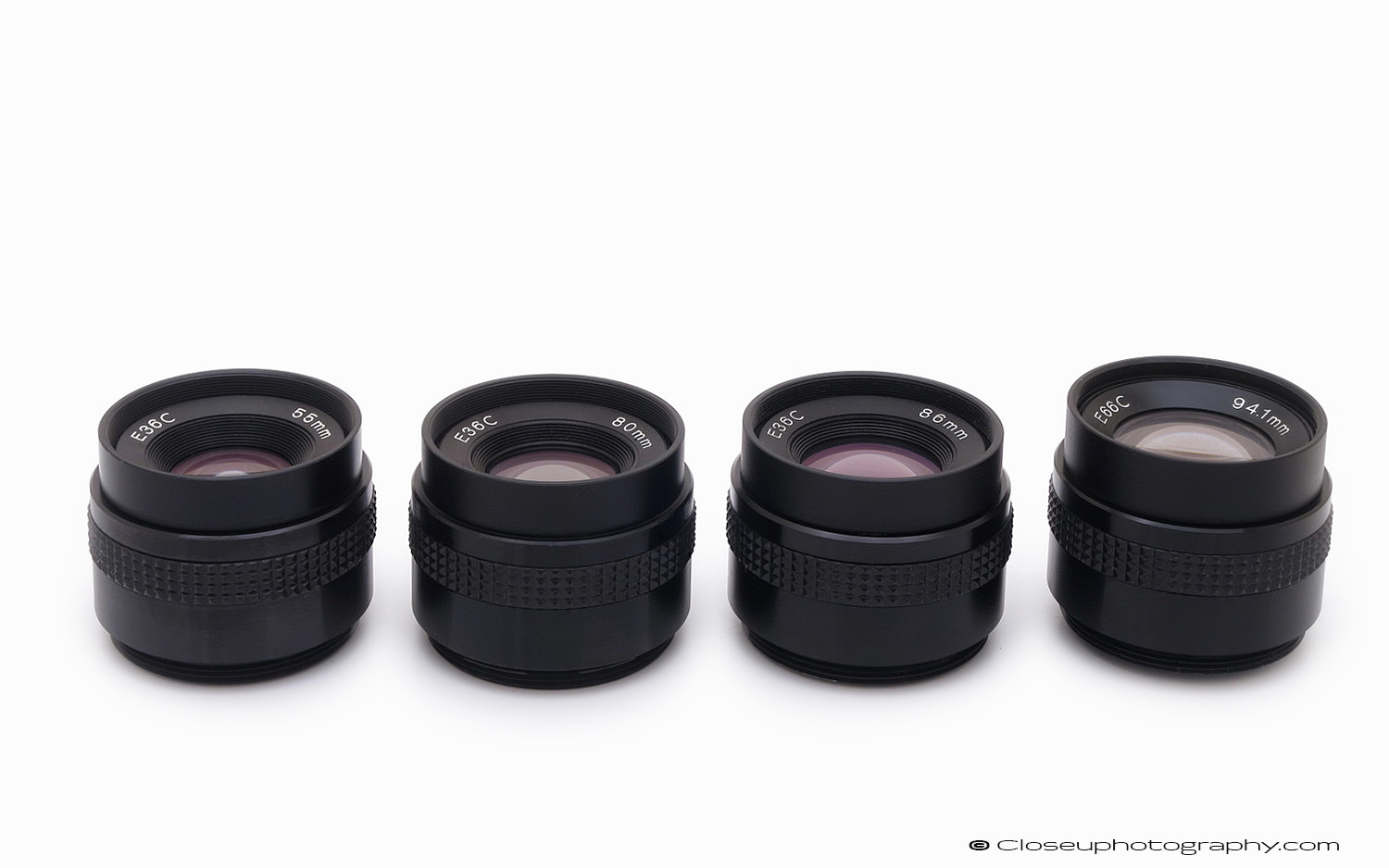 Tominon E36C 55mm, 80mm, 86mm, and 94.1mm lenses. These are the C type, with a preset aperture disk, without and iris.