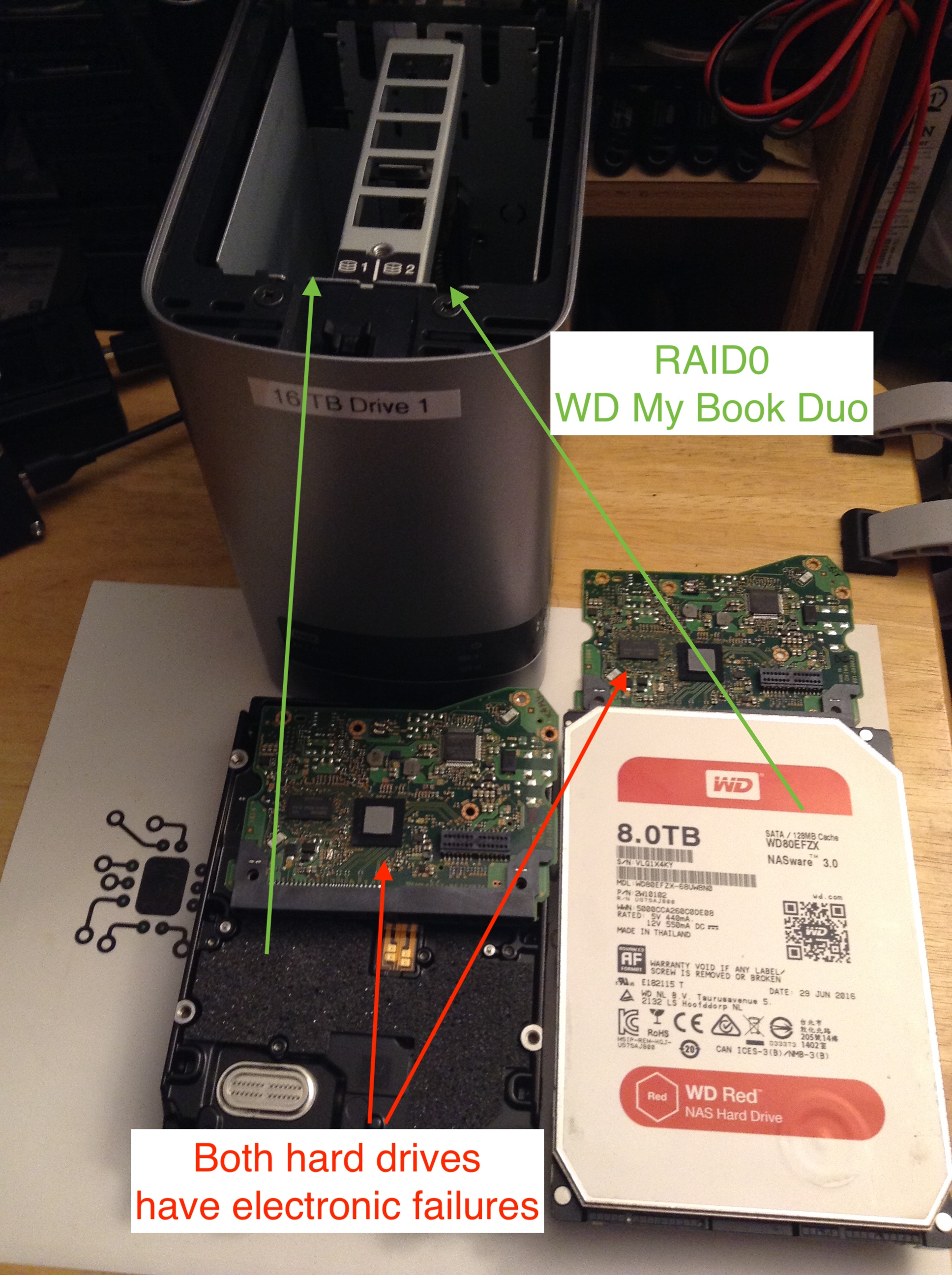 RAID0 x2 8TB WD Red Helium HDD with PCB failure.JPG
