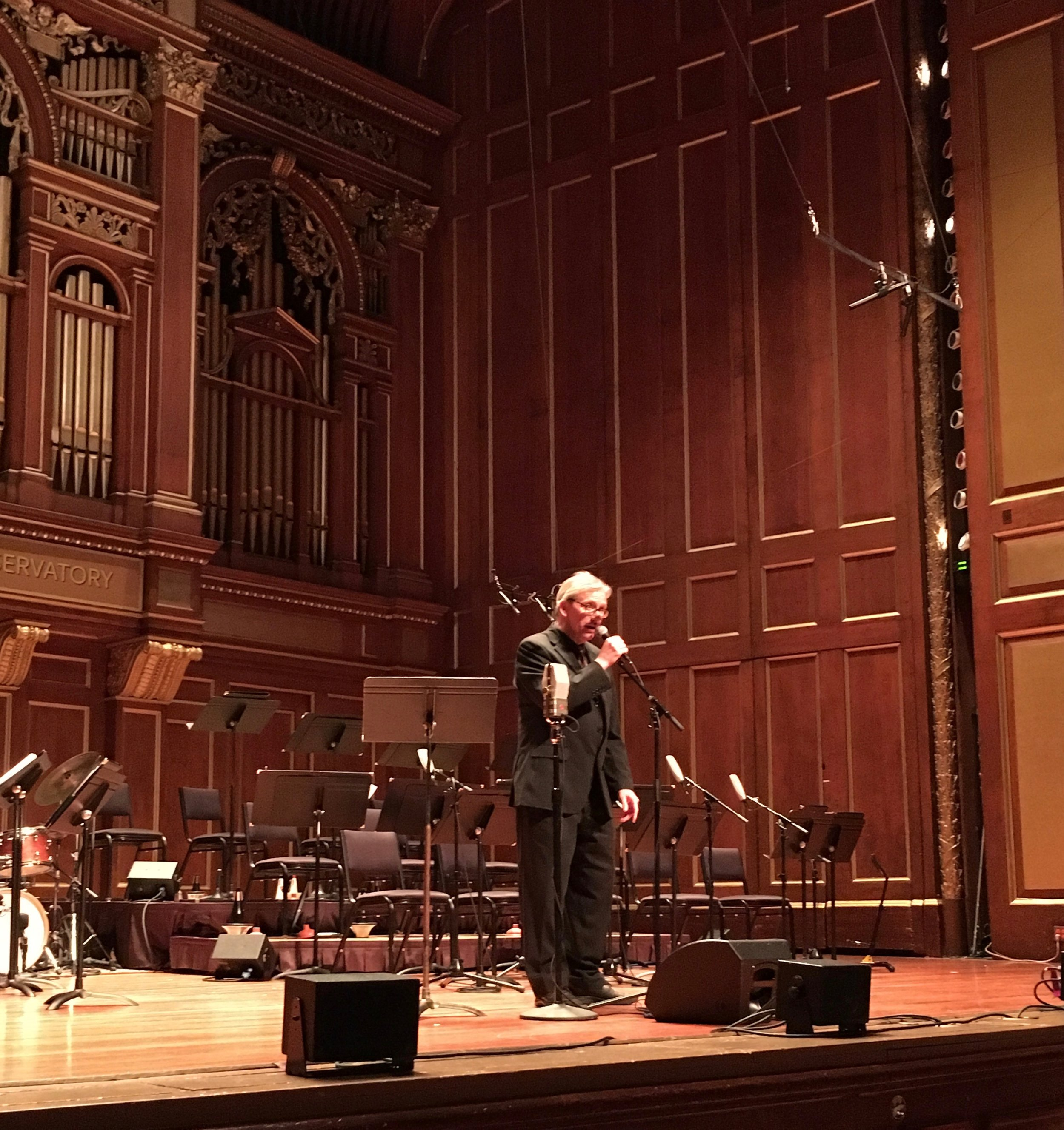 Ken Schaphorst, composer and director of New England Conservatory's Jazz Studies Program, welcomes the Jordan Hall audience.