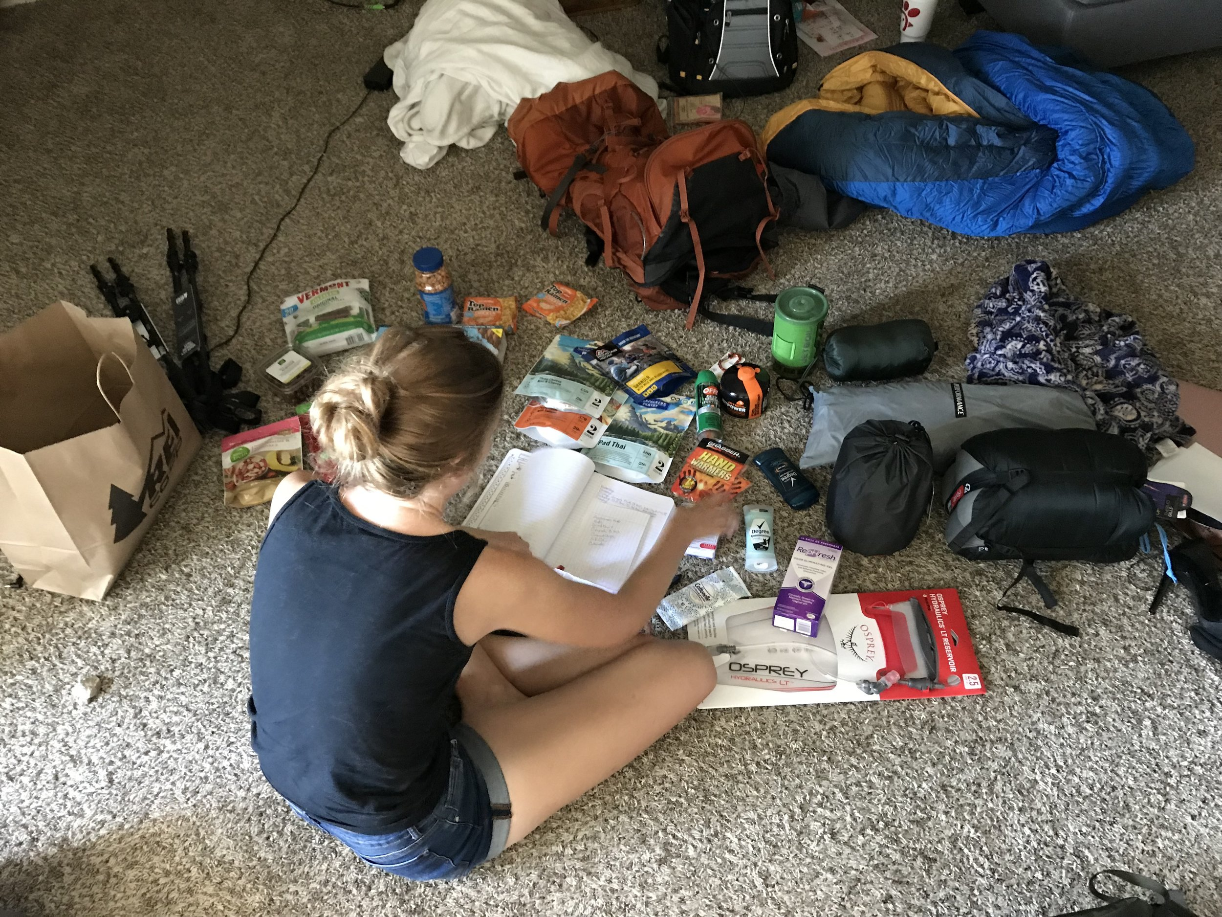 Emily getting our food organized