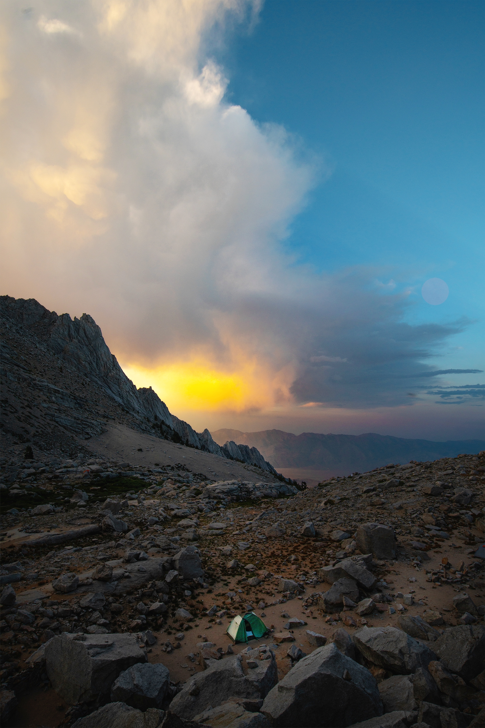 A Tent and the Sunset Storm
