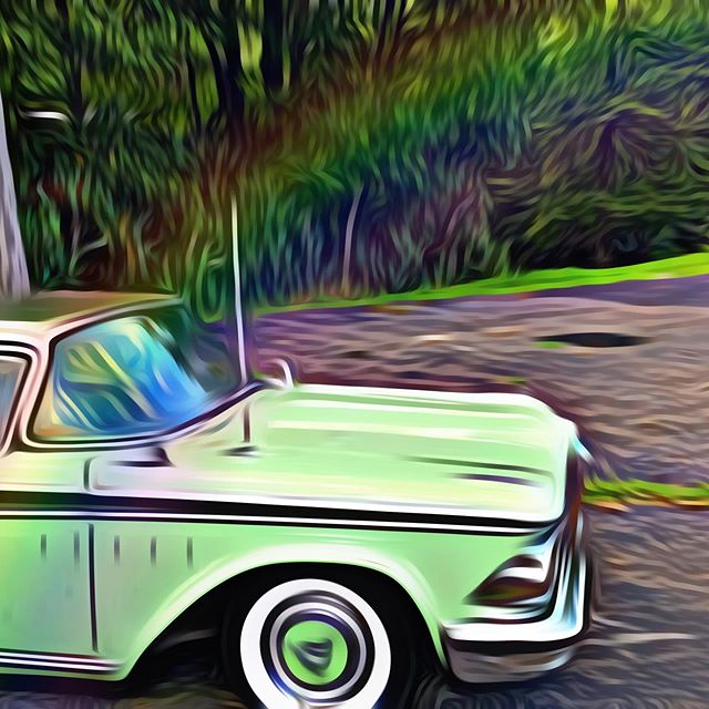 Happened upon this old car during my travels. My graphic designer (aka my daughter) edited the photo. I love old cars and this one was the right color!! #greenskybookkeeping #teachthemyoung