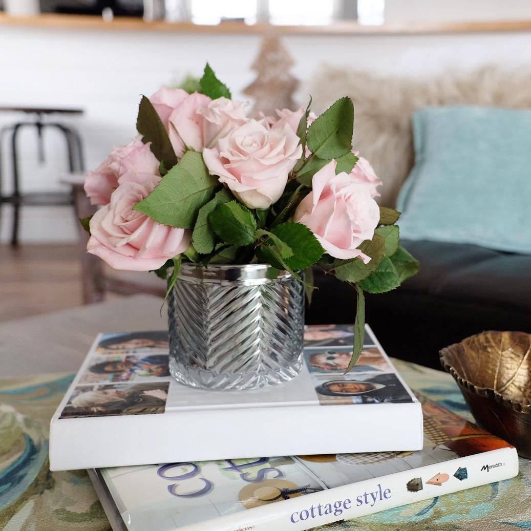 Recycled Candle Jar Flower Arrangement