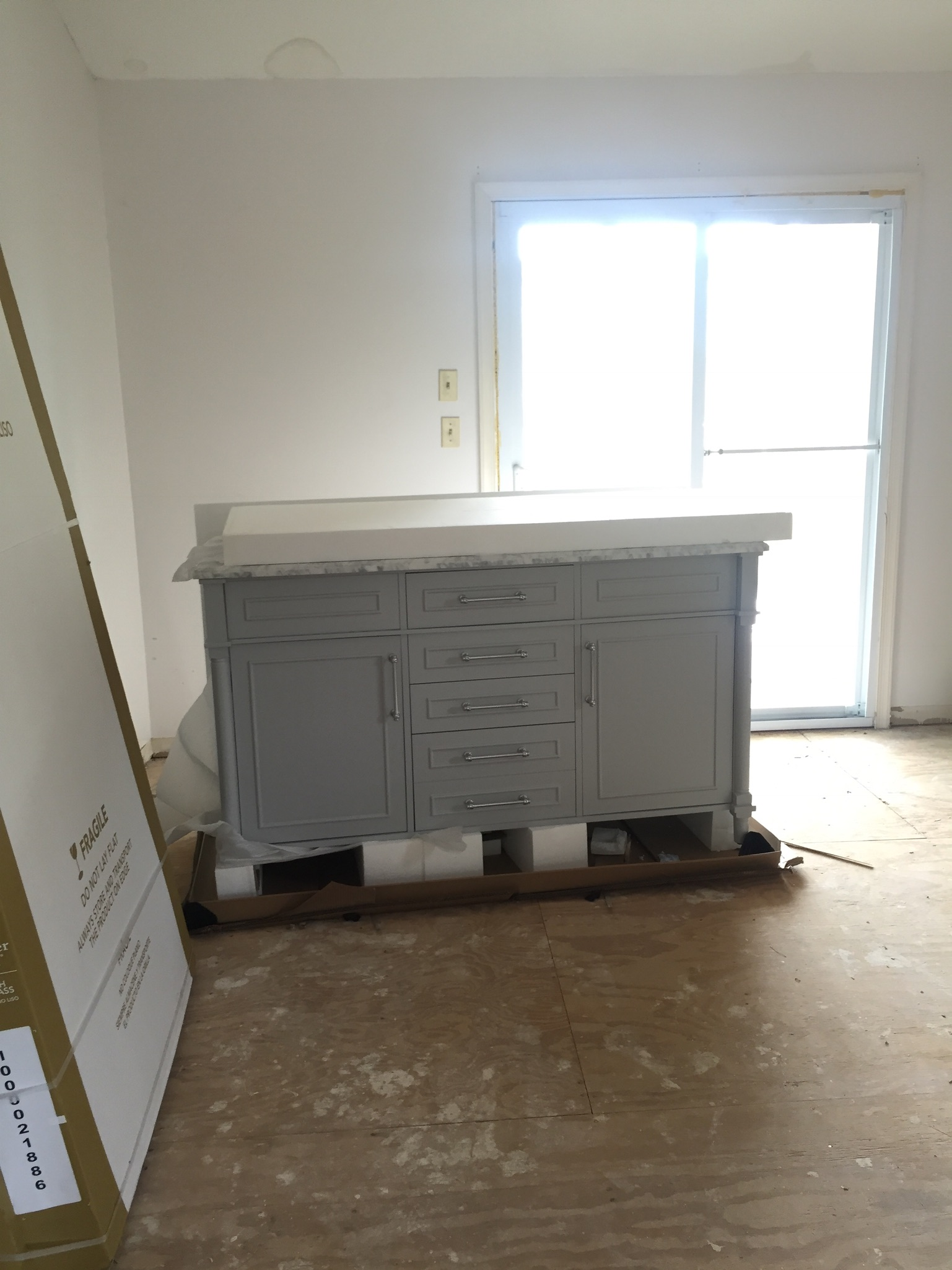 Double vanity with marble top from Home Depot