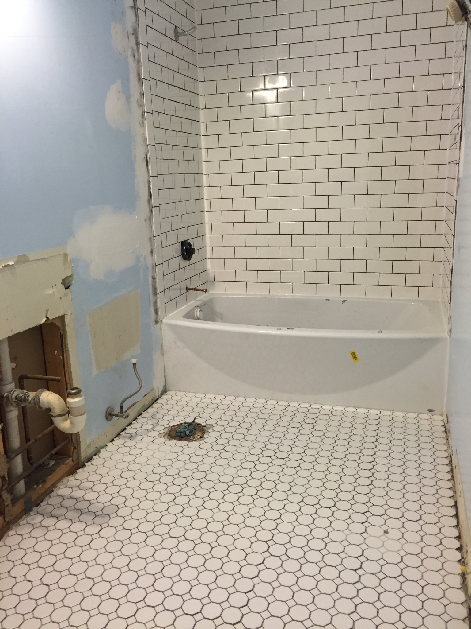 Added hexagon floor tile and subway tile with charcoal gray grout. Removed closet and plumbed for double vanity.