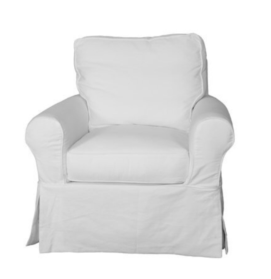 White slipcovered chair