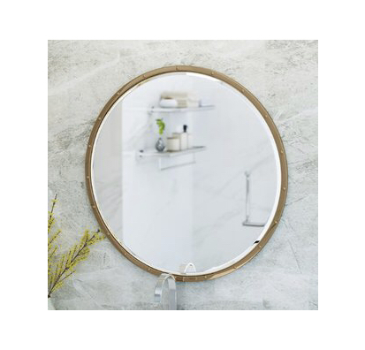 powder room: circular wall mirror