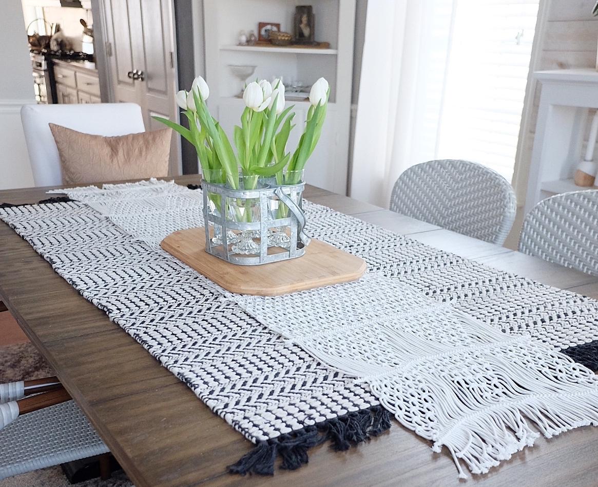 Boho Table Runner   Black/white rug