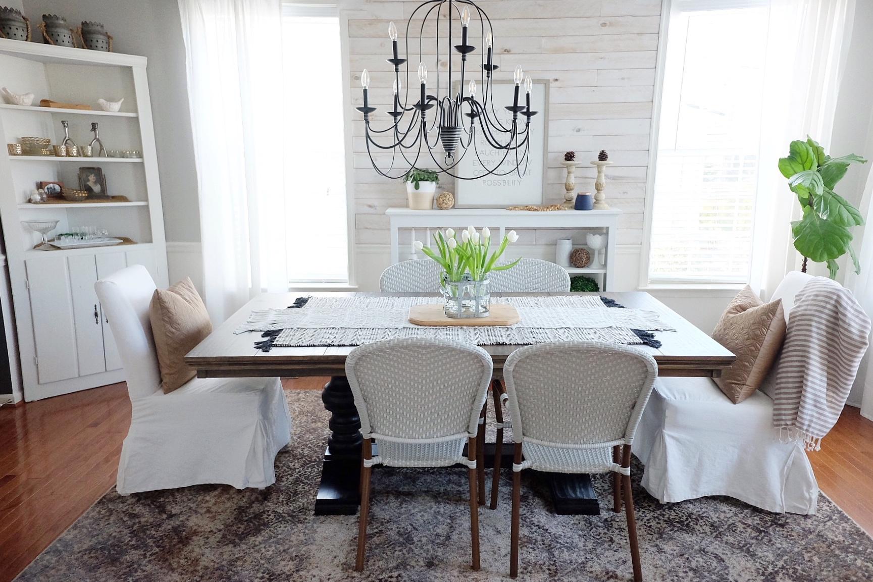 White Slipcovered chairs   White/Wood Chairs   black light