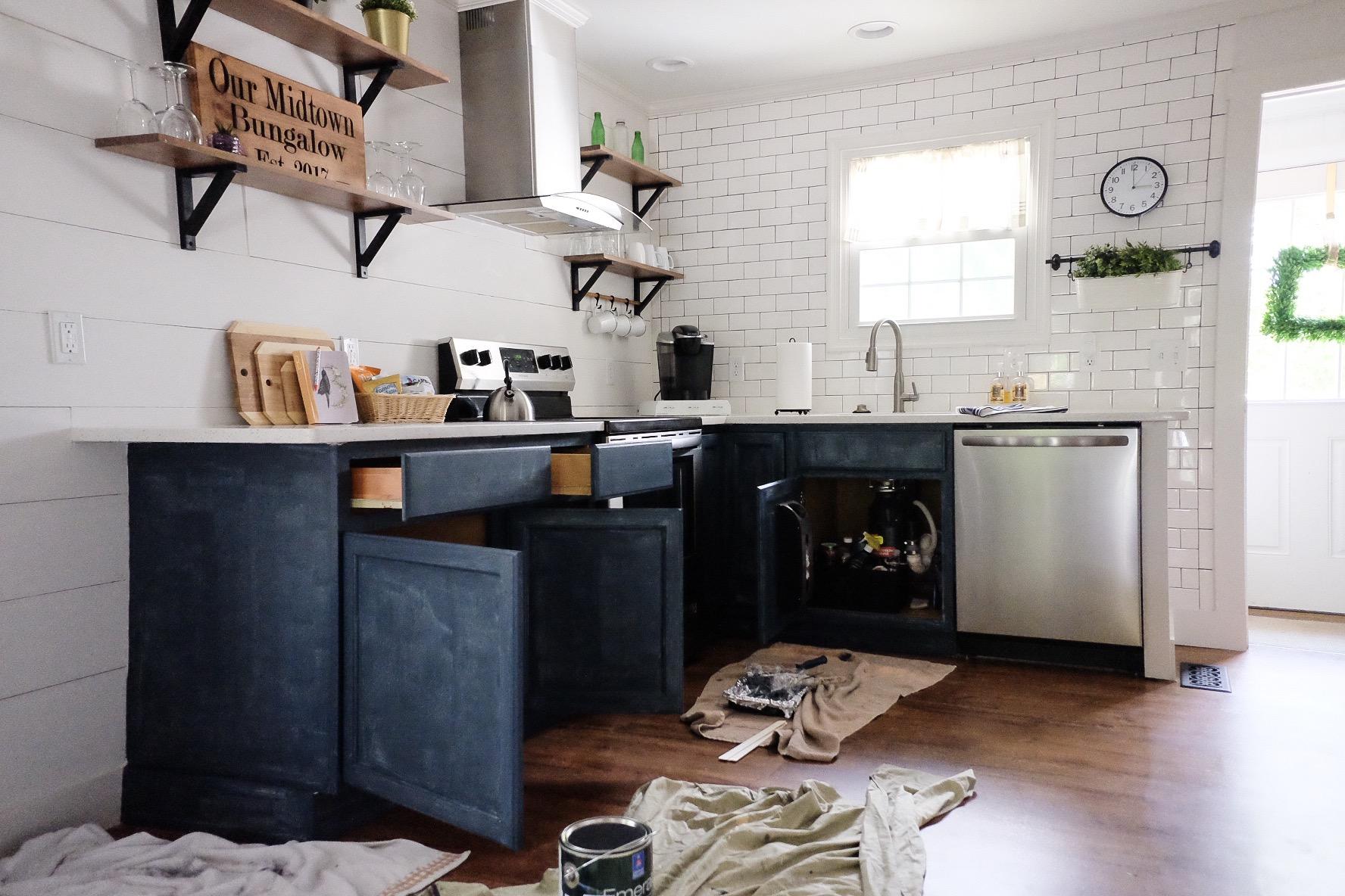 Painting cabinets - 1st coat!   Cottagestyleblog.com