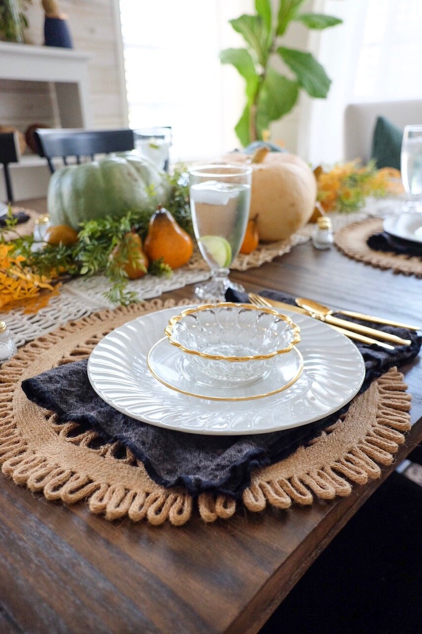Vintage dishes and black napkins make a great addition to a Fall table.  Cottagestyleblog.com