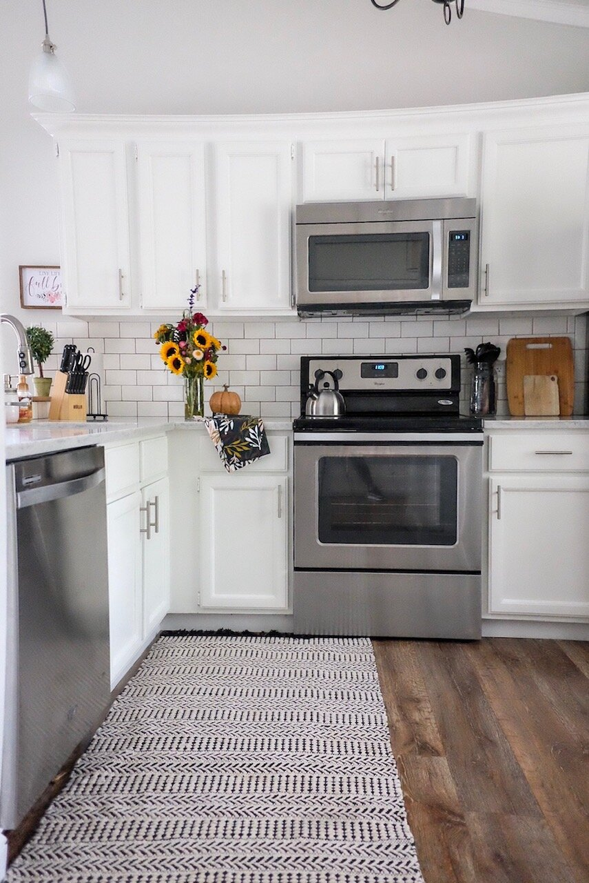 This is a view of the kitchen from our  Uptown Cottage Airbnb  in Frederick, MD.