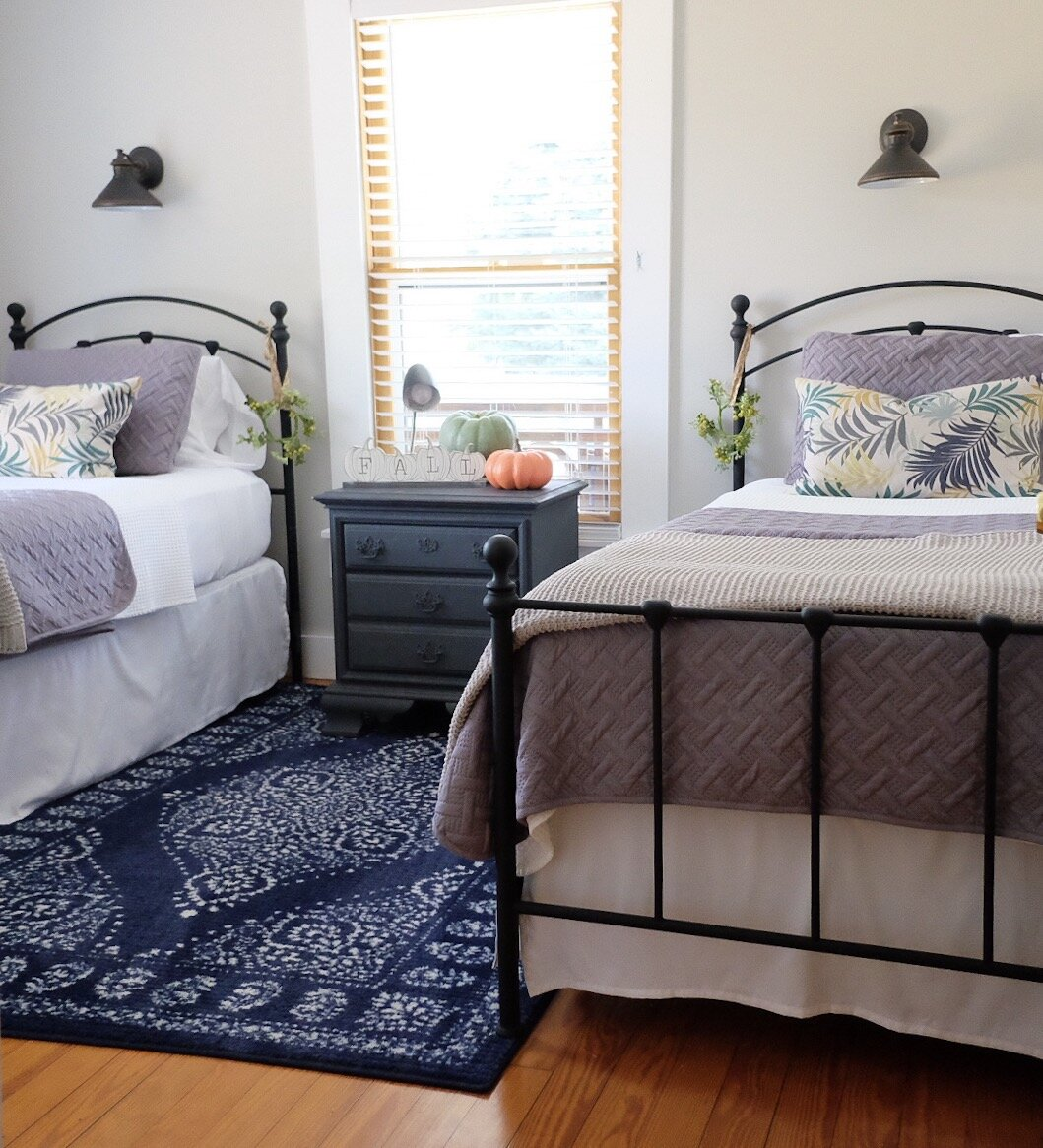 Simple decor is all that is needed for this bedroom at the  bungalow Airbnb.