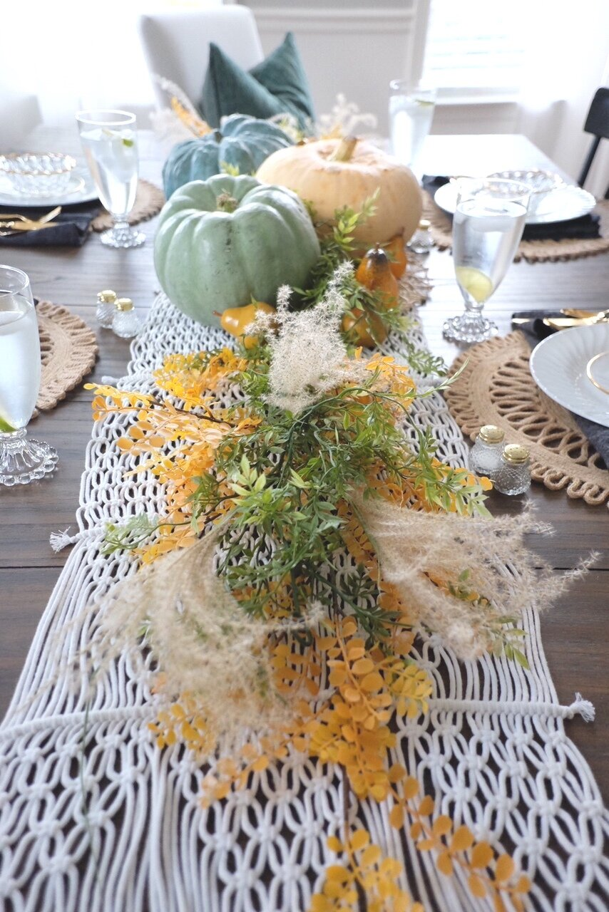 This lace table runner from Target makes a wonderful backdrop for this Fall centerpiece.