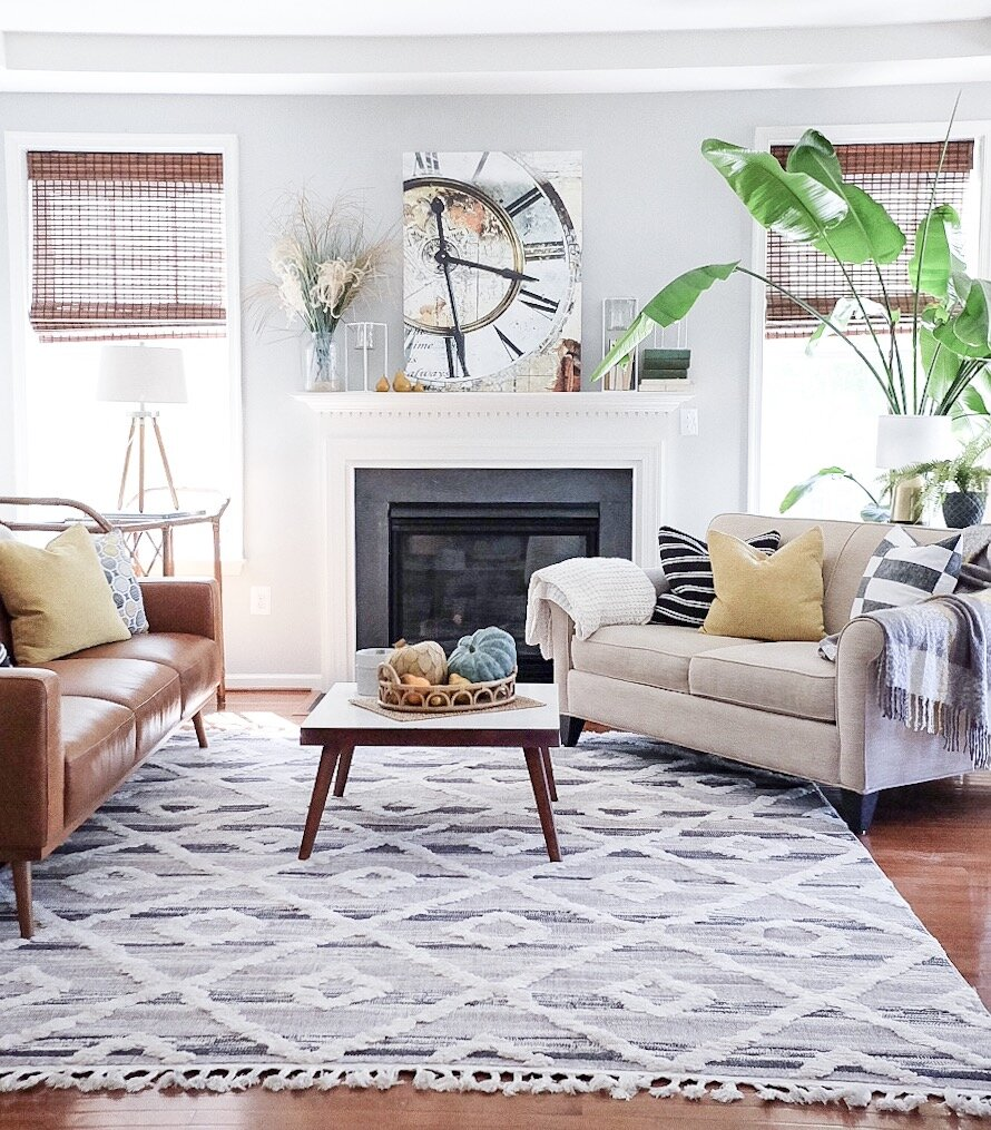 Our Living Room with a beautiful  Boutique Rug .   Cottagestyleblog.com