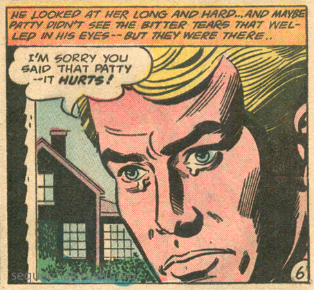 """I thought that said """"butter tears"""" there for a sec and got excited. Think of all the baking experiments! """"Let's Fall in Love""""  Girls' Romances  #103 (September 1964) Pencils and Inks: Bernard Sachs"""