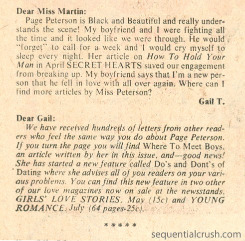 """Ann Martin, Counselor-at-Love""  Secret Hearts  #152 (June 1971)"