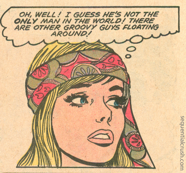 """Groovy guys are floating around. Especially at the beach!  Panel from """"Love From a Stranger!""""  Young Love  #93 (March 1972)"""