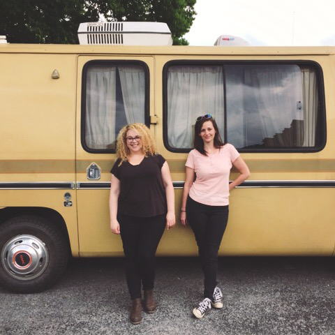 Jenny and I after our whirlwind meeting a few weeks ago -- we even held part of it in Jenny's home and studio, a sweet 1974 RV!