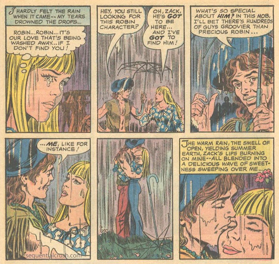 """""""I Found My Love at the Woodstock Festival!""""  Falling in Love  #118 (October 1970)"""