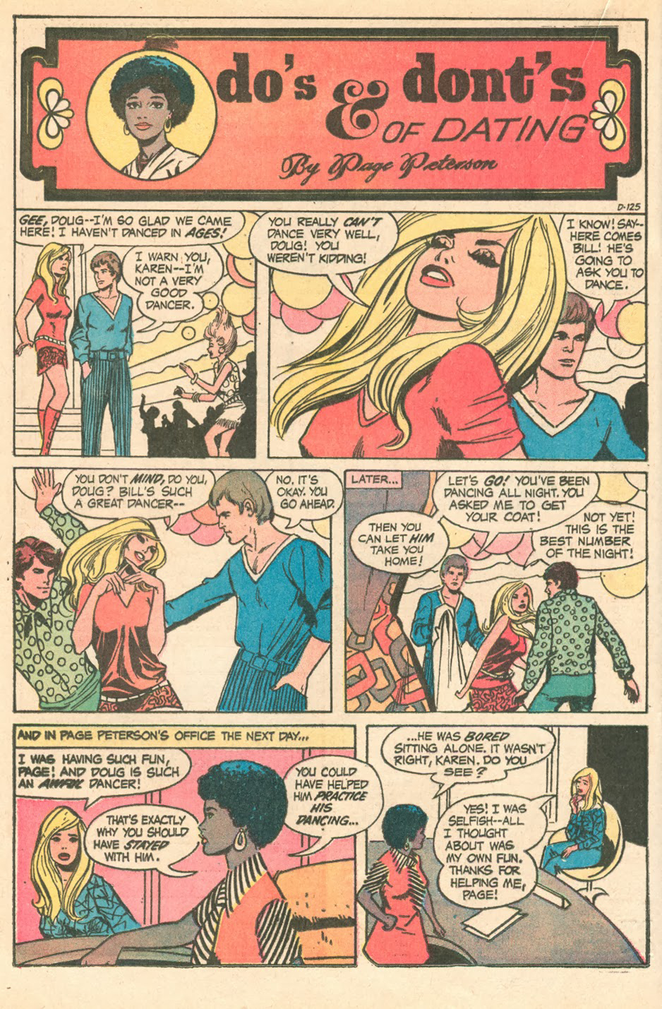 """""""Do's & Dont's of Dating by Page Peterson""""  Young Romance  #174 (September 1971) Pencils by Steve Englehart"""
