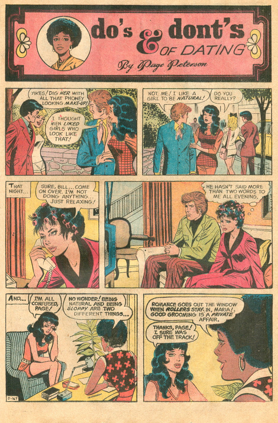 """""""Do's & Dont's of Dating by Page Peterson"""" Pencils: Jack Abel (GCD)  Young Romance  #178 (January 1972)"""
