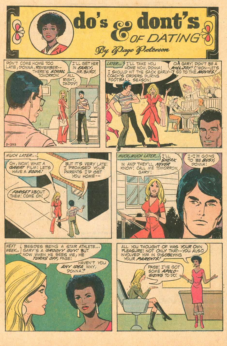 """""""Do's & Dont's of Dating by Page Peterson""""  Young Romance  #181 (April 1972)"""