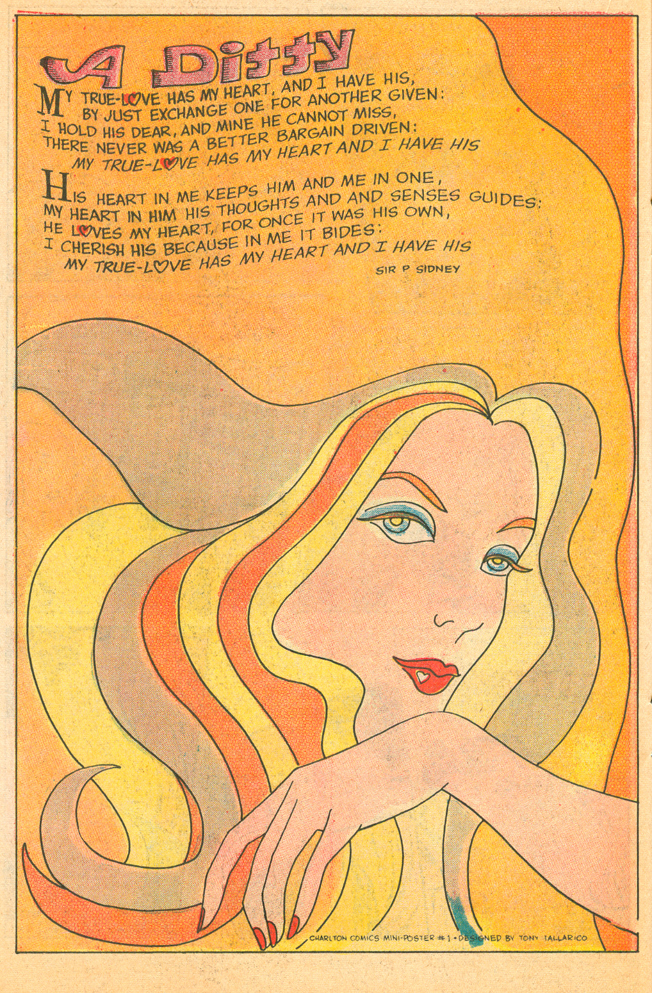 """A Ditty"" (Charlton Comics Mini-Poster #1)  Sweethearts  #102 (February 1969) Script: Sir Philip Sidney, Designed by: Tony Tallarico"