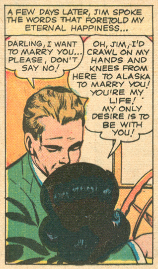 """""""Too Shy for Love!""""  Love Romances  #94 (July 1961) Pencils: Dick Giordano, Inks: Vince Colletta"""