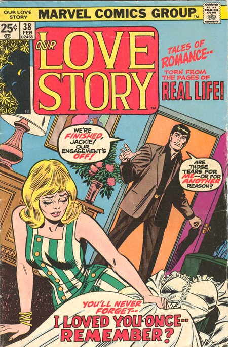 The cover of  Our Love Story  #38 (February 1975)