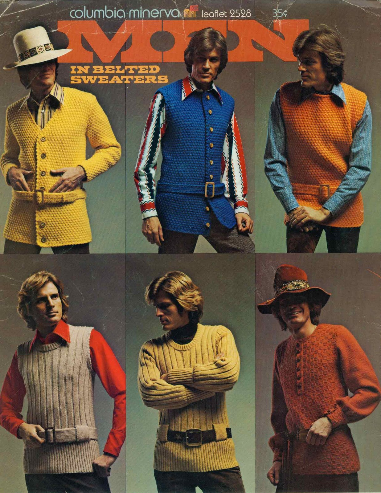 Men in belted sweaters 1970s knitwear and fashion