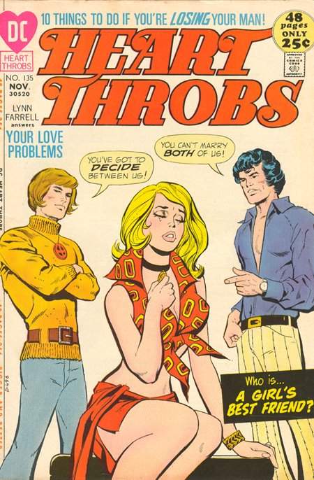 Who will she marry? I would pick the guy in the belted sweater if I were her!  Heart Throbs  #135 (November 1971). Cover by Art Saaf.