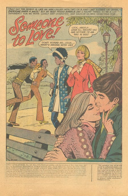 Notice the guy in the background who appears to be ice skating... on land. None of that matters though, when you are the proud owner of a belted sweater! Girls' Love Stories  #159 (May 1971).