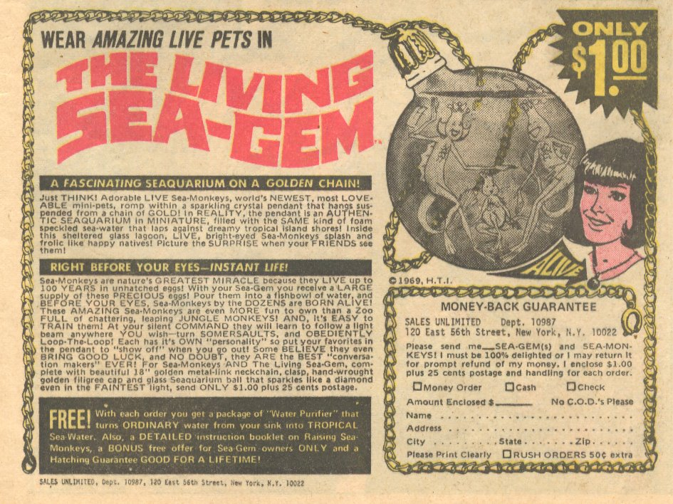 The Living Sea-Gem Sea Monkeys Ad 1960s Necklace