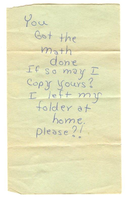 Note found in romance comic book