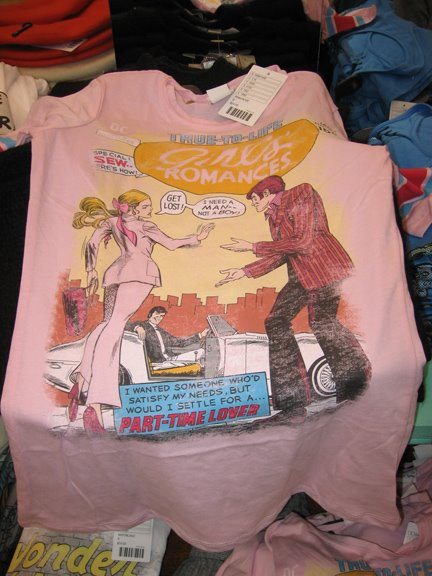 A romance comics t-shirt!If it hadn't been for the goofy striped arms I would have bought it!