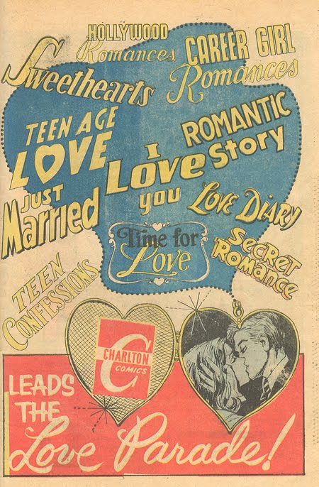 House Ad from  Time for Love  #15 (March 1970) Nope, that blue blob isn't an outline of an upper Midwest state -- it's a locket chain!