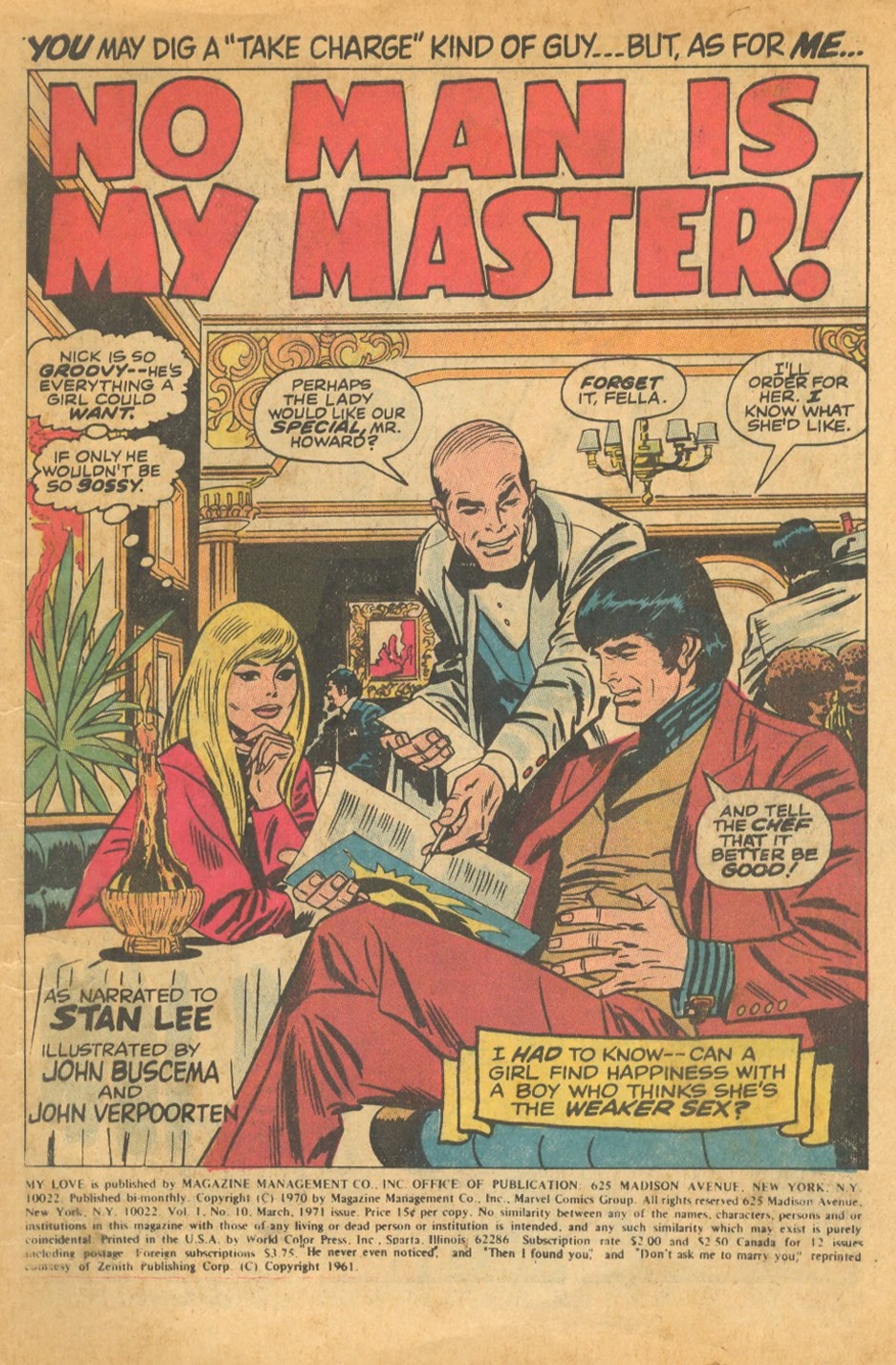 """No Man is My Master"" from   My Love   #10 (March 1971"