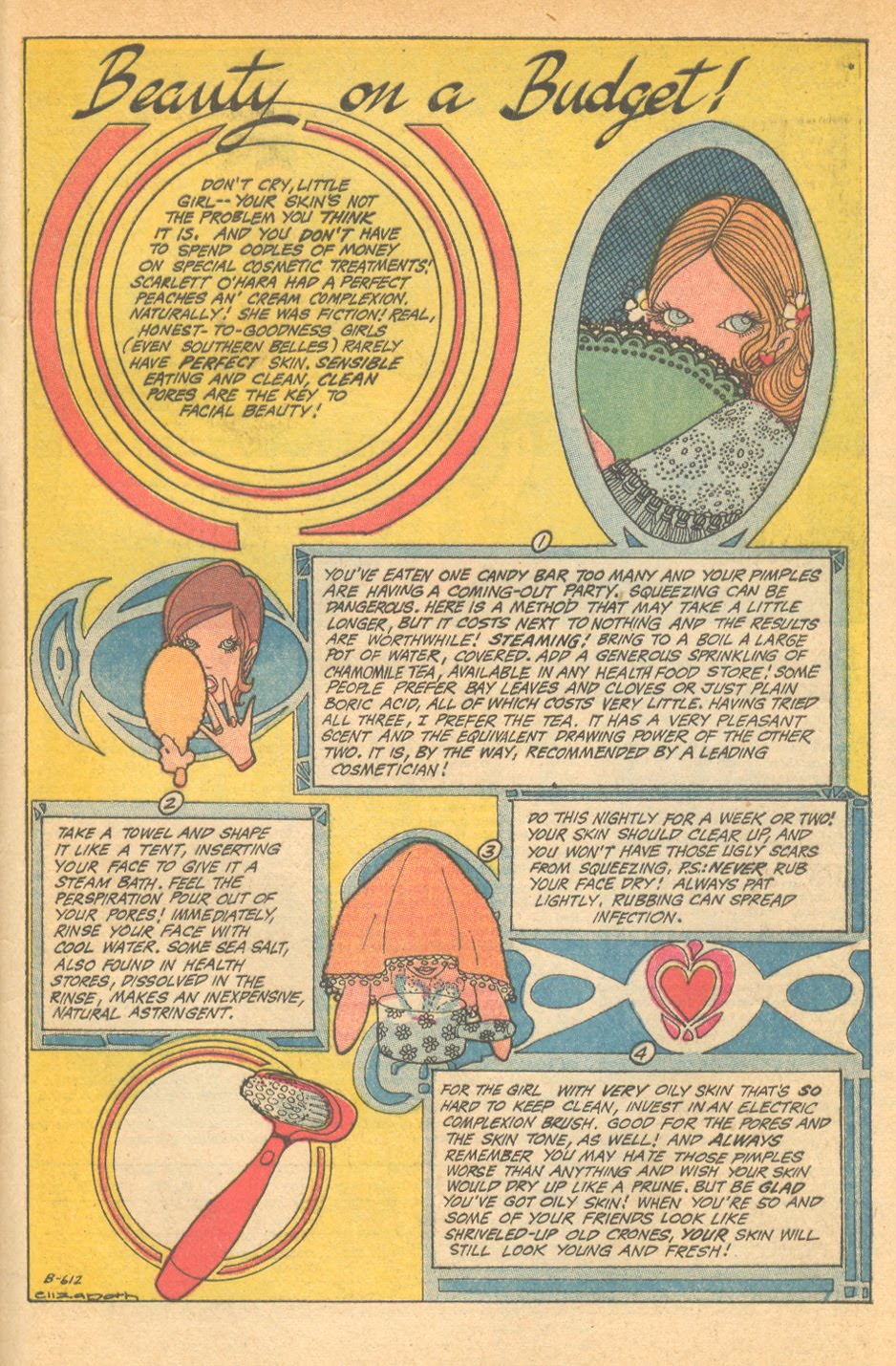 """""""Beauty on a Budget""""  Falling in Love  #119 (November 1970)"""