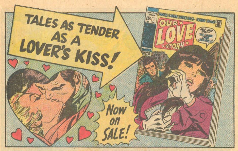 Marvel romance comic book advertisement