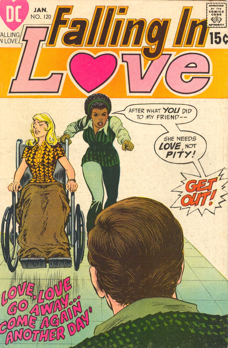 """DIAGNOSIS: Broken leg due to falling off porch """"Love, Love Go Away... Come Again Another Day""""  Falling in Love  #120 (January 1971) Cover pencils and inks by Nick Cardy"""