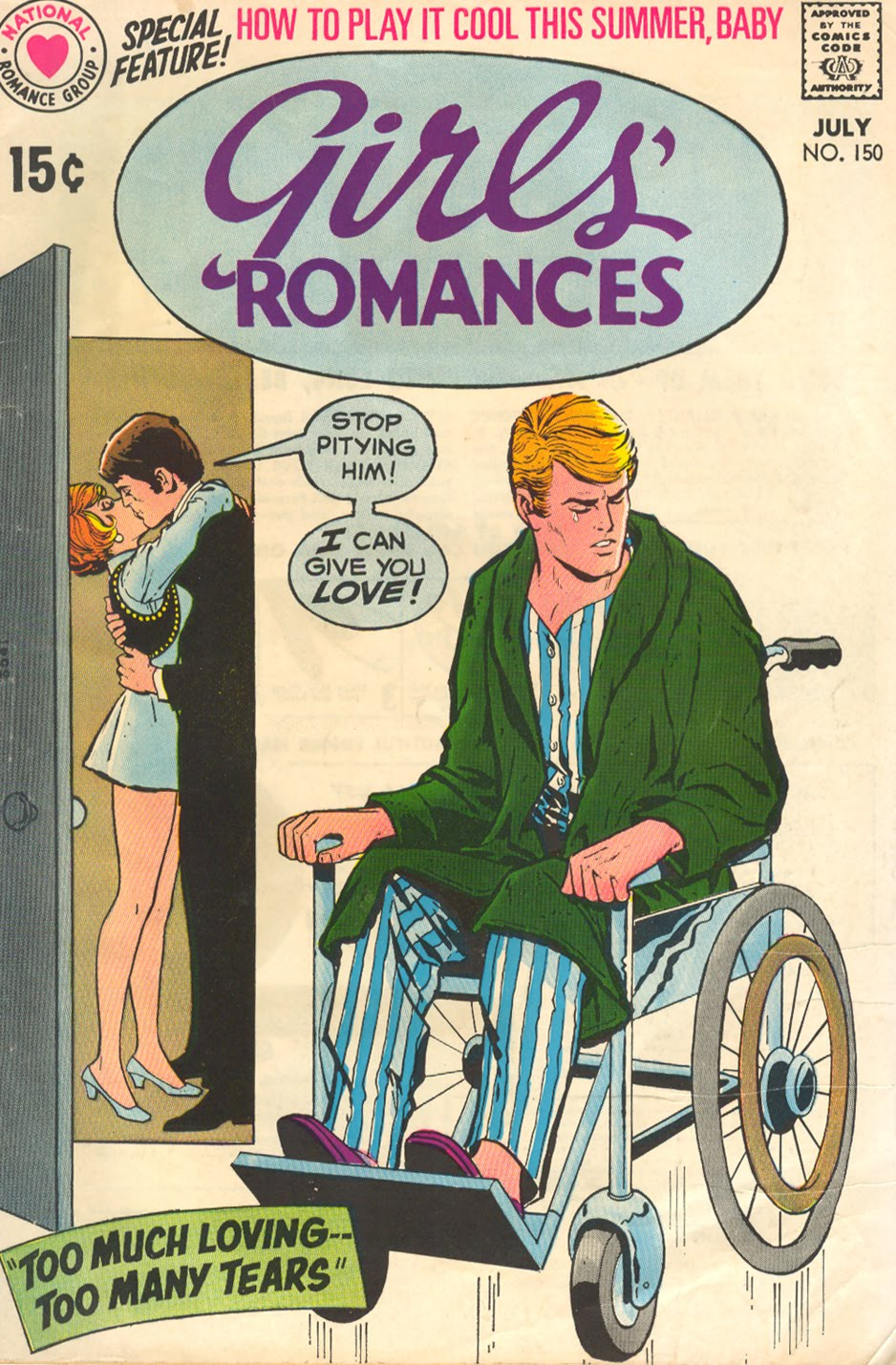 """DIAGNOSIS: Knee injury as a result of a football accident (yes, even guys can be pitied) """"Too Much Loving... Too Many Tears!""""  Girls' Romances  #150 (July 1970) Cover pencils by Nick Cardy, inks by Vince Colletta"""