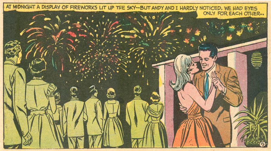 Fireworks romance comic panel