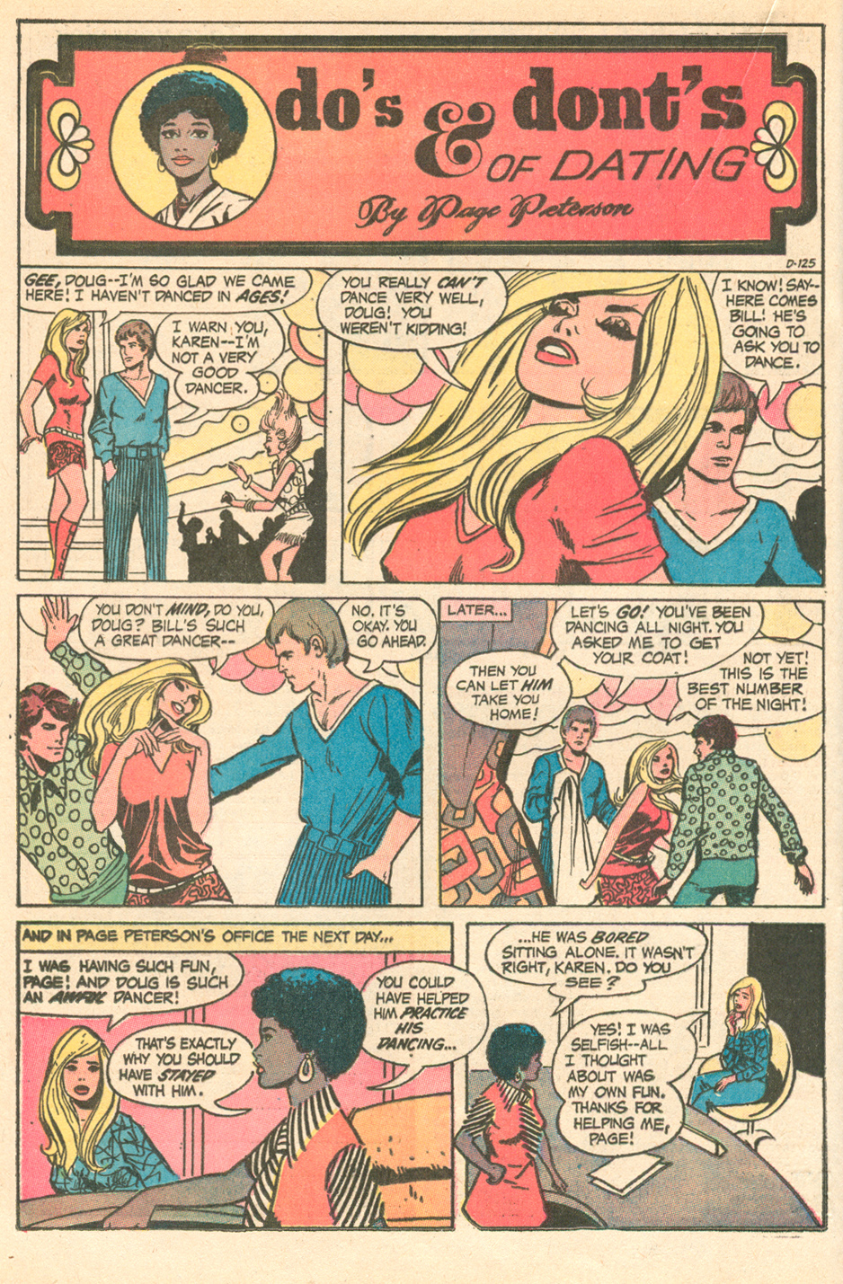 """""""Do's & Dont's of Dating by Page Peterson"""" Pencils:  Steve Englehart , Inks: Vince Colletta  Young Romance  #174 (September 1971)"""