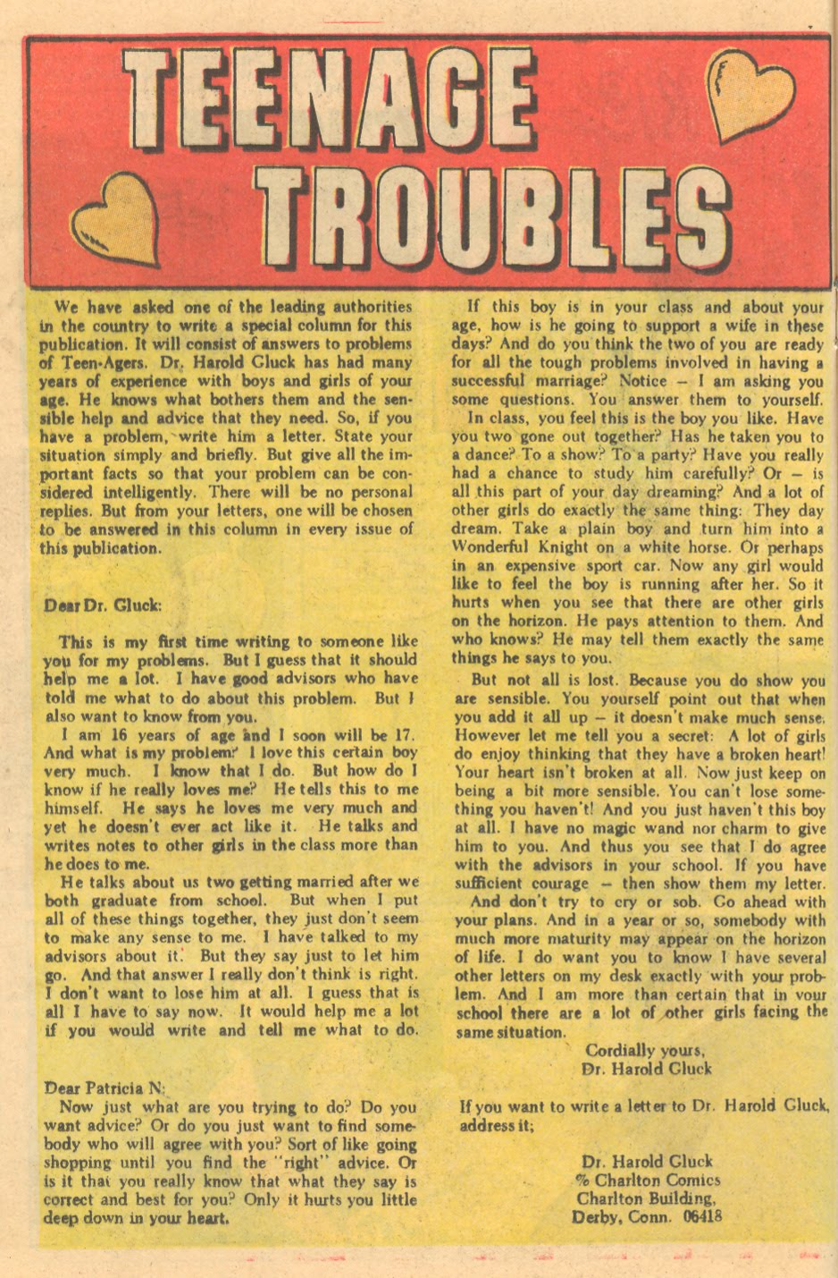 Advice columns romance comics