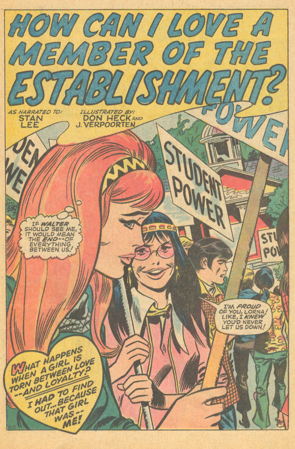 """How Can I Love a Member of the Establishment?""  My Love  #5 (May 1970) Story: Stan Lee, Pencils: Don Heck, Inks: John Verpoorten"