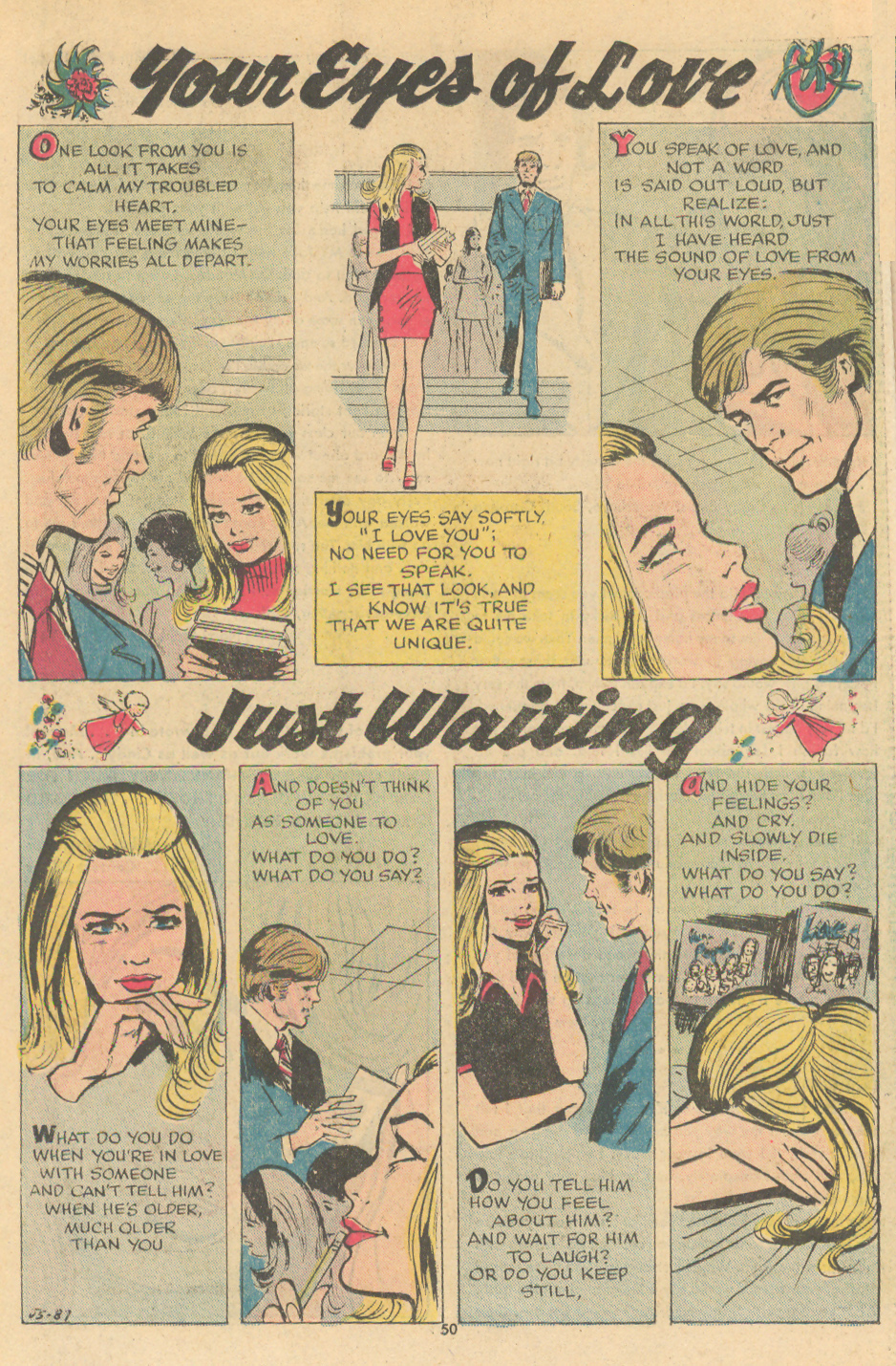 """""""Your Eyes of Love"""" and """"Just Waiting""""  Young Romance  #198 (March/April 1974)"""