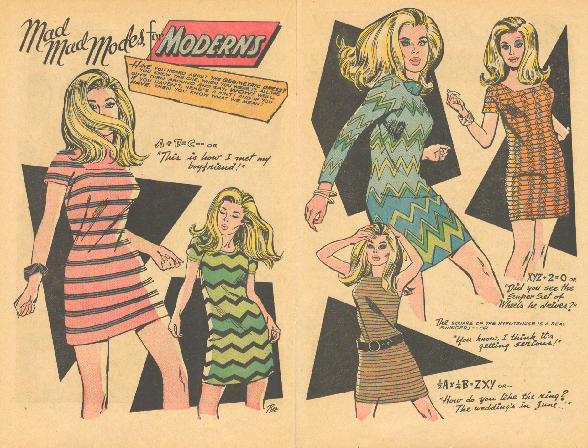 """Mad Mad Modes for Moderns""  Girls' Love Stories  #132 (January 1968) Illustrated by Jay Scott Pike"